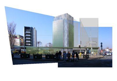 Metroul Grozăveşti, în 2014: vedere spre birouri futuriste, grădini suspendate şi pereţi înverziţi