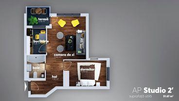 Apartament cu - 2 camere,  56.05 mp