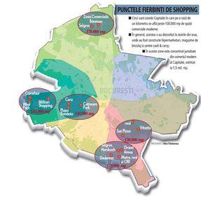 Cinci zone concentrează jumătate din suprafaţa comercială a Capitalei: 70 ha pentru cumpărături